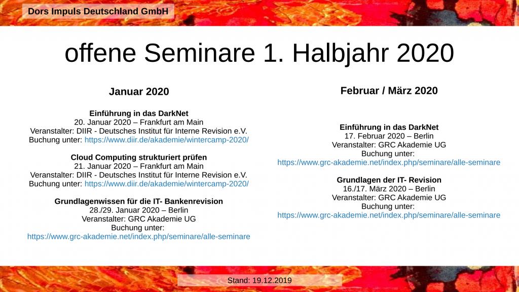 offene Seminar 1. Halbjahr 2020